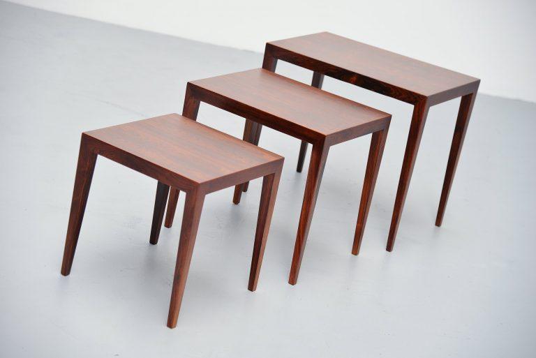 Severin Hansen nesting tables rosewood Haslev Denmark 1960