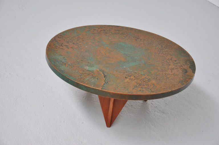 Belgian Bronze coffee table with teak 1995