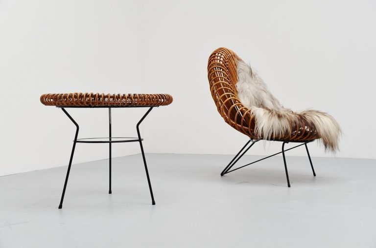 Janine Abraham / Dirk Jan Rol rattan lounge chair Holland 1955