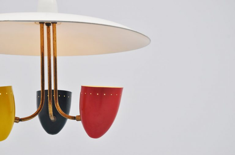 Italian uplighter ceiling lamp with colored shades 1950
