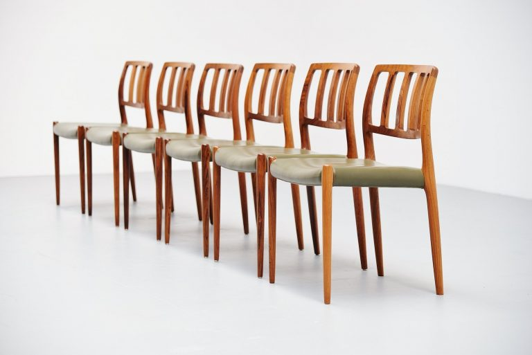 Niels Moller model 83 dining chairs in rosewood Denmark 1974
