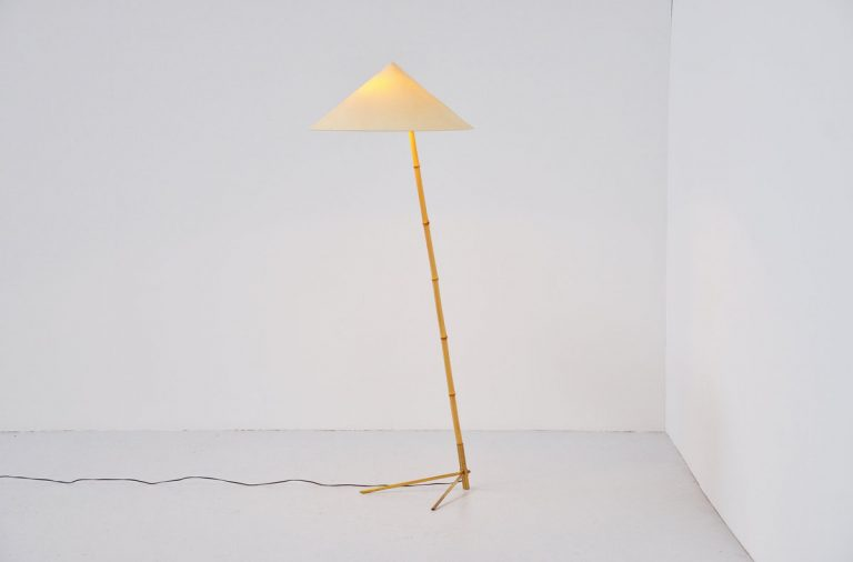 J.T. Kalmar floor lamp with Bamboo Austria 1950