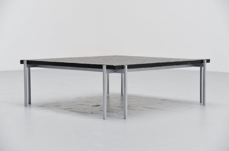 Dutch modernist coffee table with slate top Holland 1960
