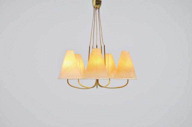 J.T. Kalmar chandelier in brass Austria 1950