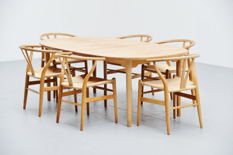 Brdrene Andersen soaped oak dining table Denmark 1970