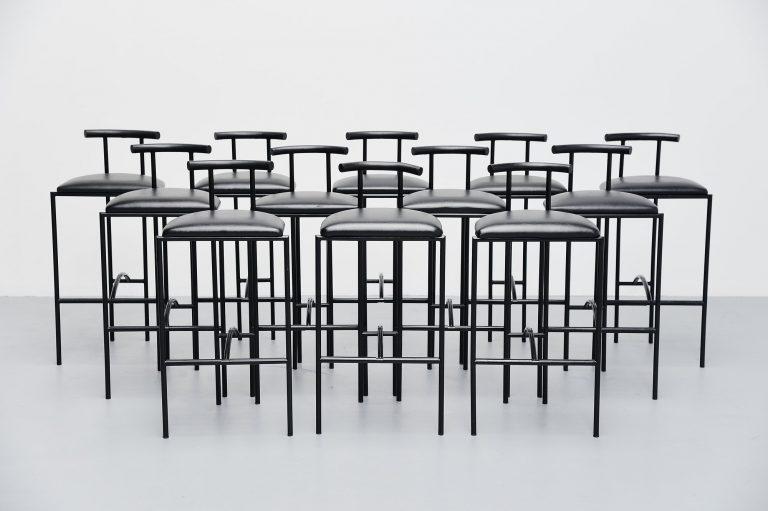 Rodney Kinsman bar stools black Bieffeplast Italy 1985