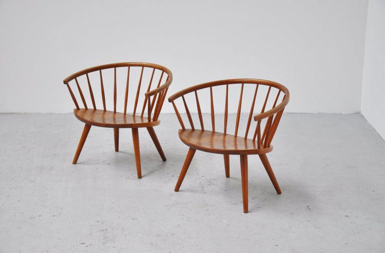 Yngve Ekstrom Arka chairs pair Sweden 1955