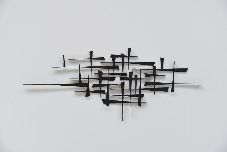 Brutalist wall sculpture lacquered iron Belgium 1970