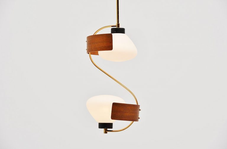 Studio Reggiani pendant lamp in teak and brass Italy 1950