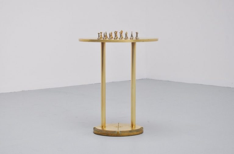 Peter Ghyczy chess table in brass Holland 1975