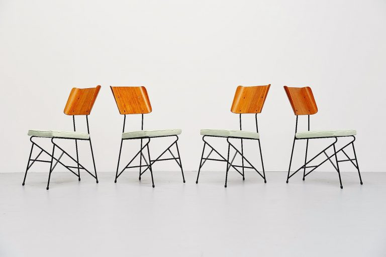 Carlo Ratti dining chairs for Legni Curva Italy 1950