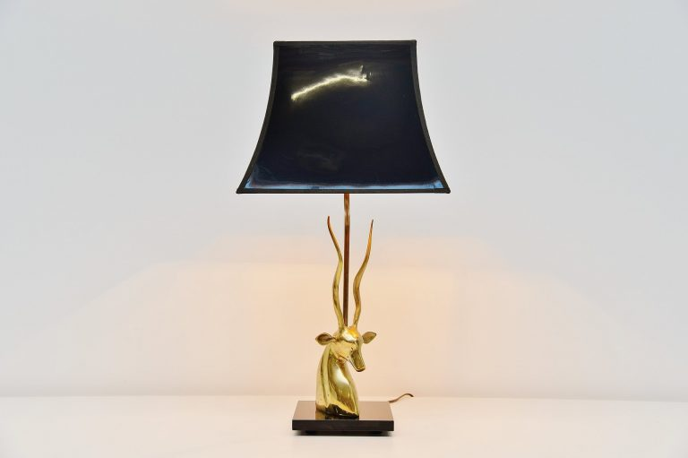 Antilope head table lamp in Brass France 1975