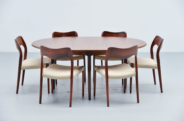 Niels Moller rosewood dining table model 15 Denmark 1960