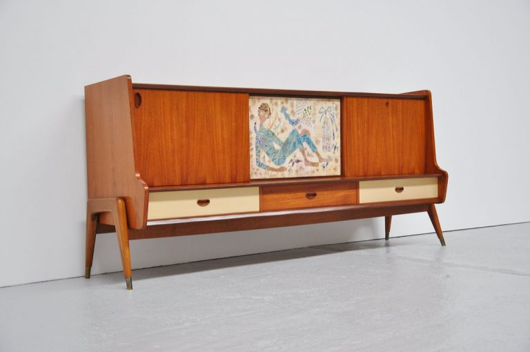 Belgian ceramic art sideboard in teak 1950