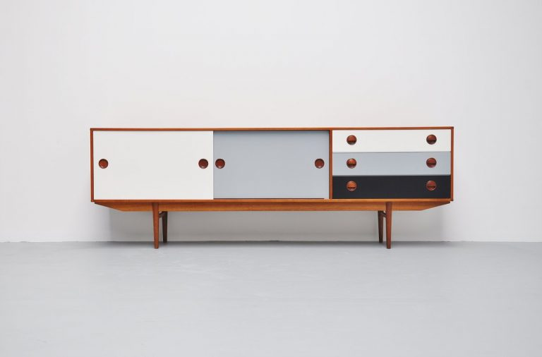 Fristho teak and colored sideboard Holland 1965