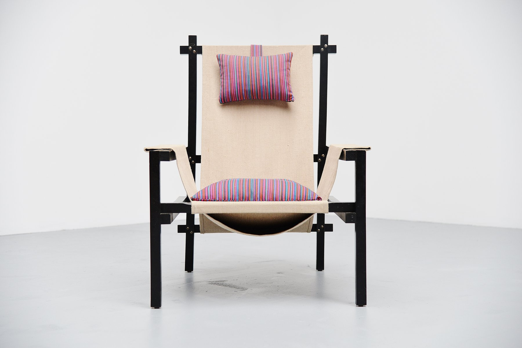 Gerrit Rietveld style slat chair with canvas Holland 1950 ...
