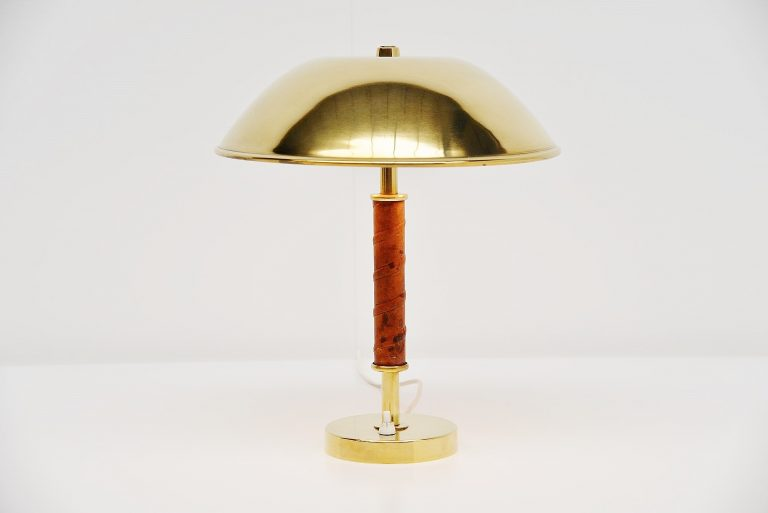 Asea Belysning brass and leather table lamp Sweden 1960