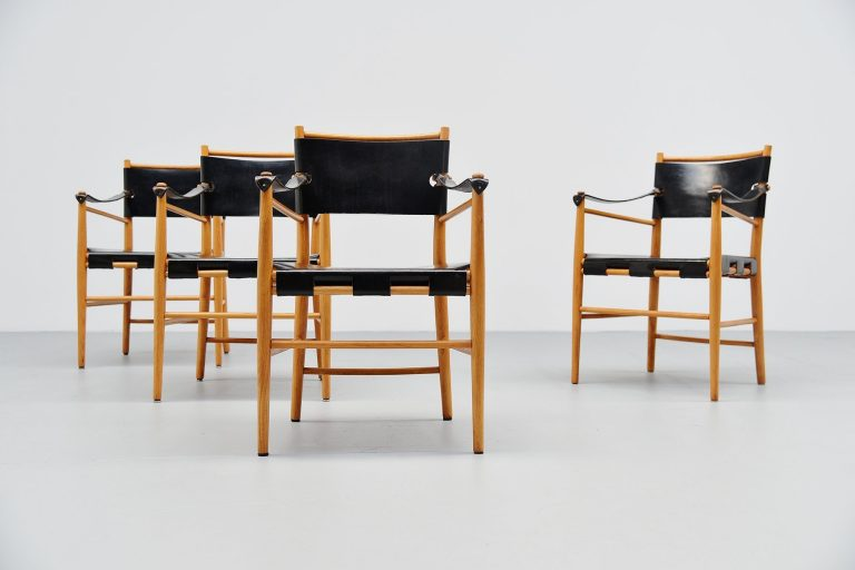 Italian safari chairs in birch and black leather 1960