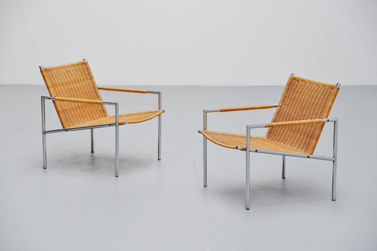 Martin Visser SZ01 easy chairs cane 't Spectrum 1965