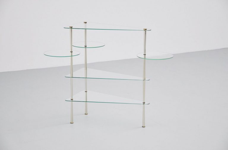 Italian glass console table 1950