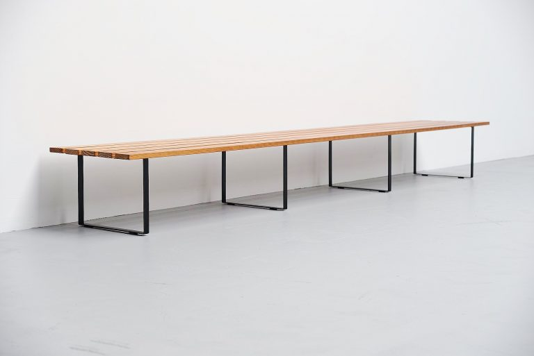 Long architectural slat bench Holland 1950