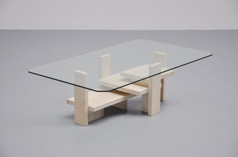 Willy Ballez sculptural coffee table in travertine Belgium 1970