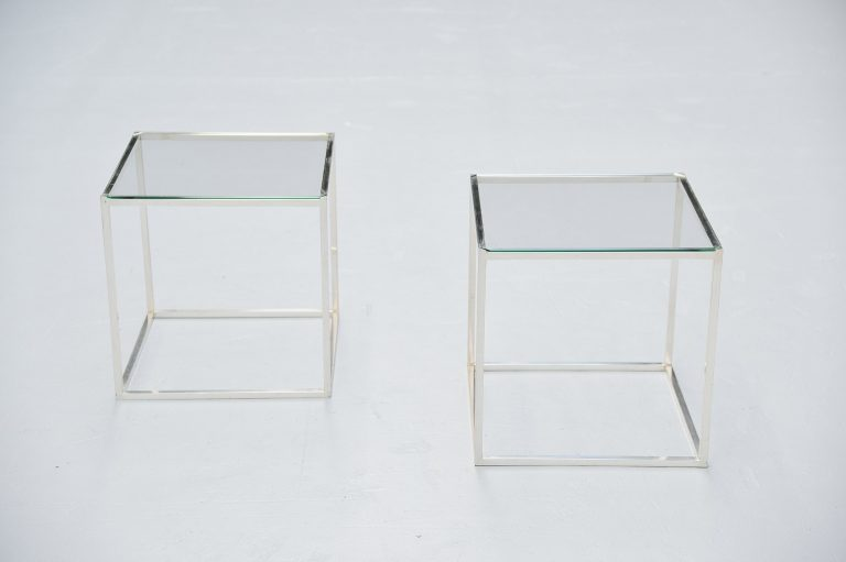 Lino Sabattini side tables silver plated Italy 1970