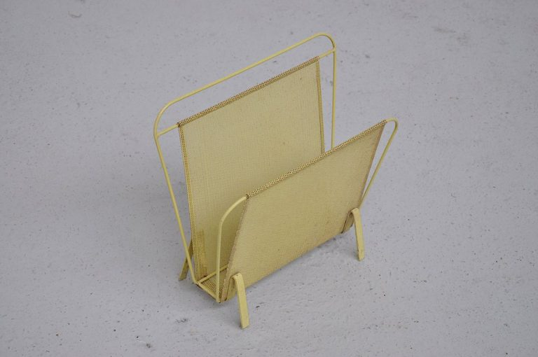 Mathieu Mategot magazine rack yellow Artimeta 1960