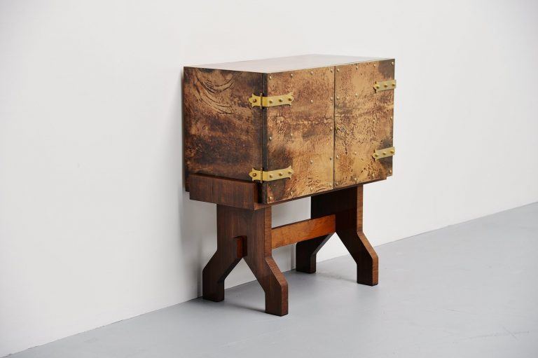 Aldo Tura goatskin small dry bar cabinet Italy 1960
