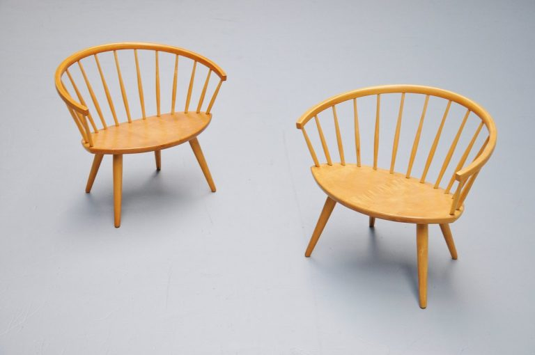 Yngve Ekstrom Arka chairs pair, Sweden 1955