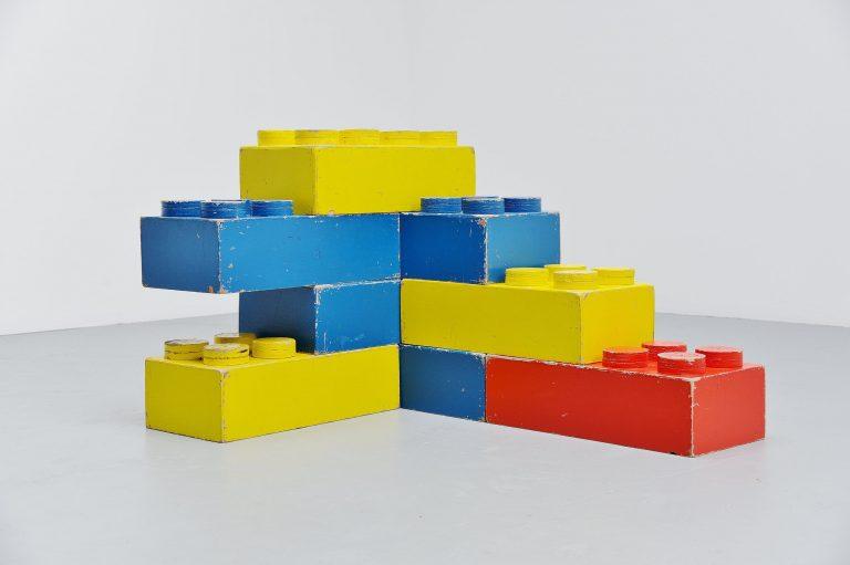 Large decorative Lego cubes Holland 1960