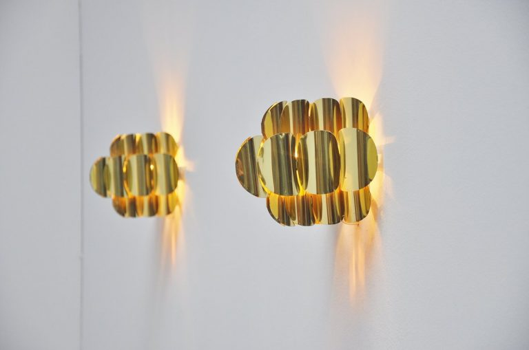 Jo Hammerborg brass sconces for Fog & Morup Denmark 1960