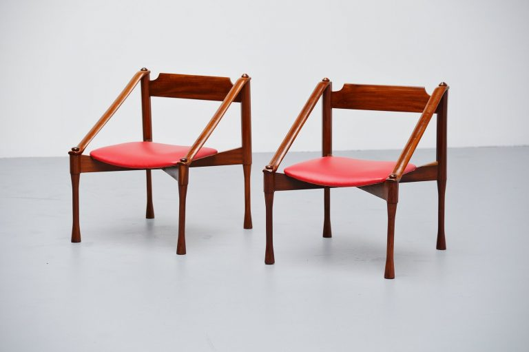 Giulio Moscatelli lounge chairs pair Italy 1950