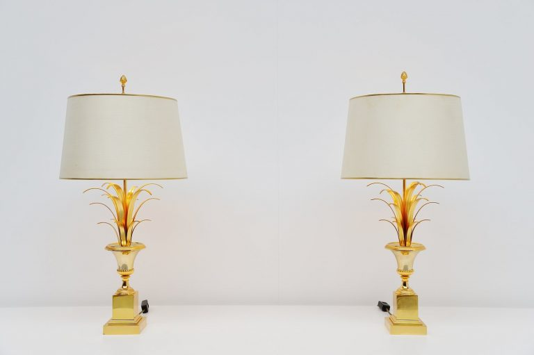 Maison Charles palm motif table lamps France 1970