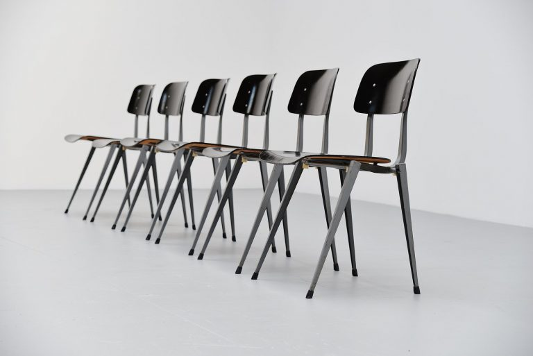 Unusual set of Industrial stacking chairs Holland 1960