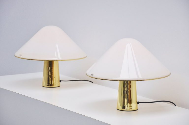 Pair of Guzzini brass and lucite table lamps 1974