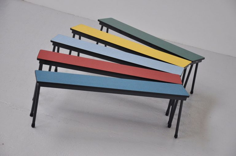 Dutch school benches with formica top 1960