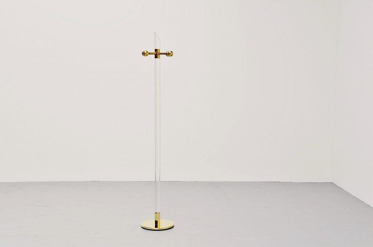 Plexiglass regency coat stand with brass Belgium 1970