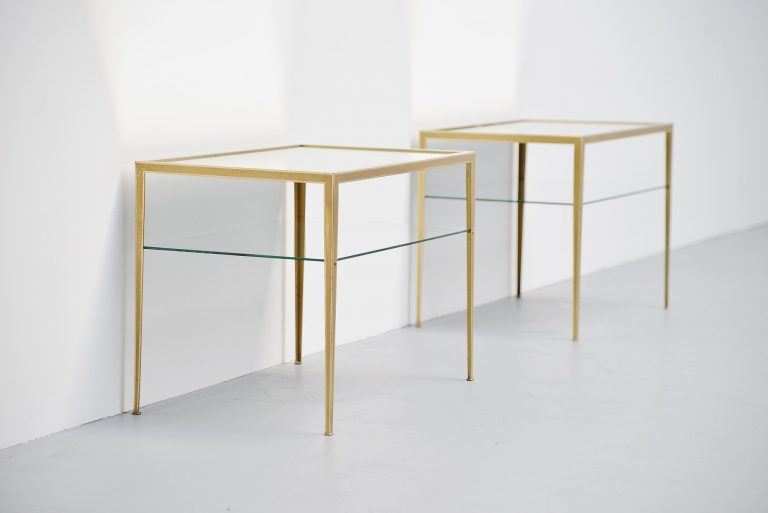 Brass bed tables with mirrored tops Italy 1950