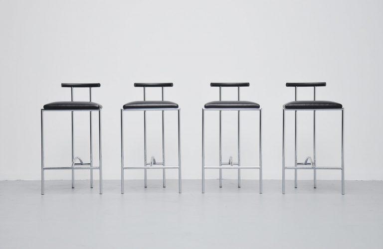 Rodney Kinsman bar stools chrome Bieffeplast Italy 1985