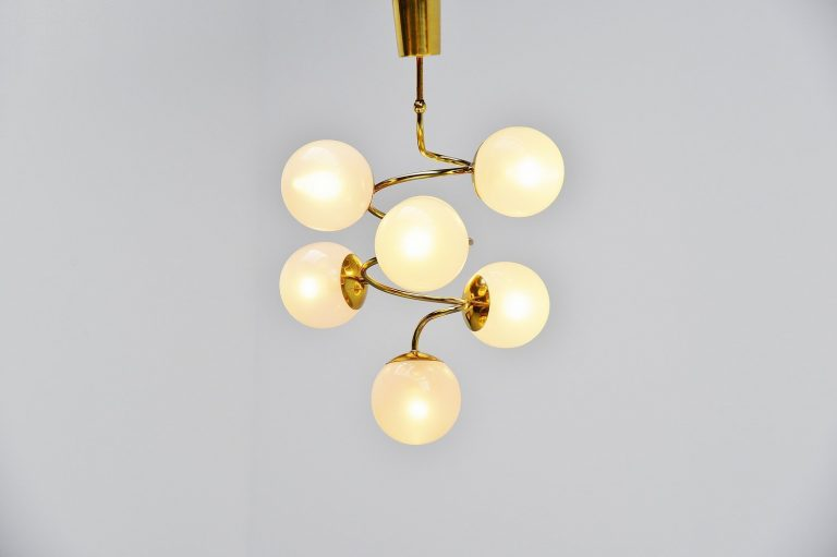 Stilnovo attributed glass and brass chandelier Italy 1950