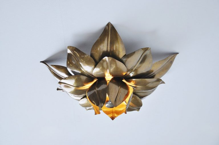 Maison Charles flower ceiling lamp France 1970