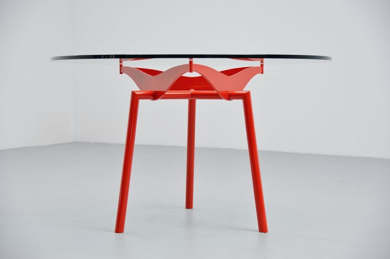 Industrial round dining table in Prouve Perriand style 1960