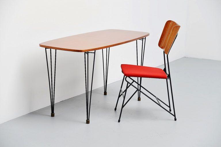 Carlo Ratti writing table set for Legni Curva Italy 1950