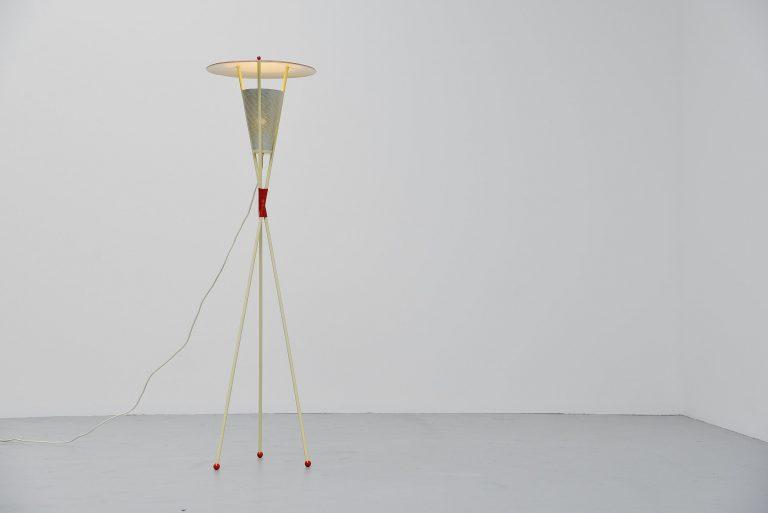 Dutch modernist floor lamp fifties colors Holland 1950