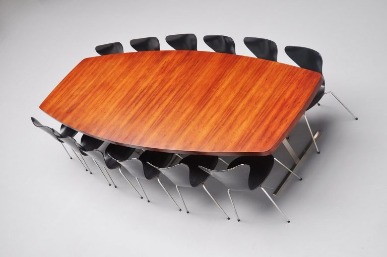 Large rosewood conference table like Jules Wabbes 1960