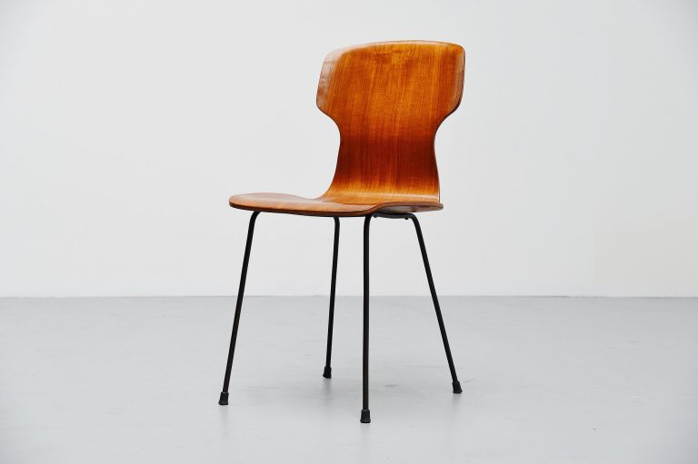 Carlo Ratti side chair in plywood Legni Curva Italy 1950
