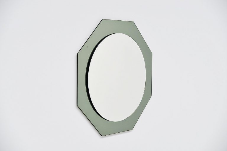 Crystal Arte wall mirror hexagonal shape Italy 1970