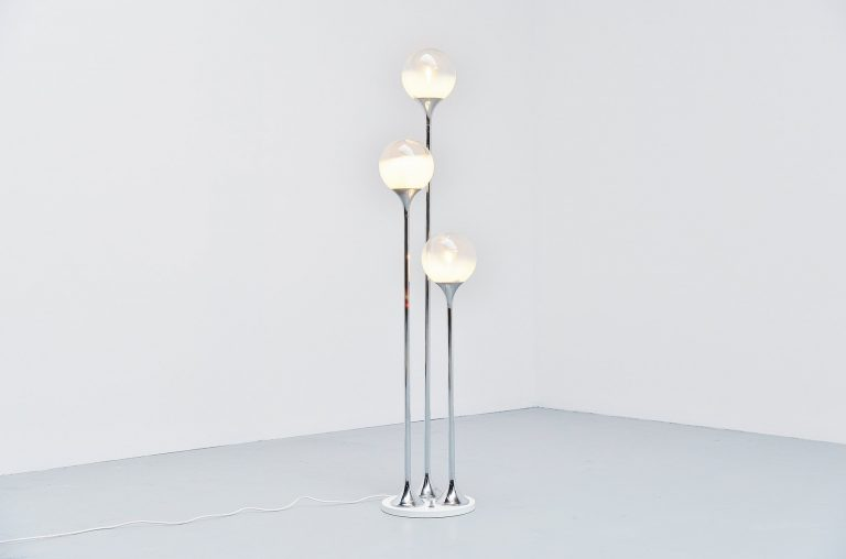 Targetti Sankey floor lamp with frosted globes Italy 1960