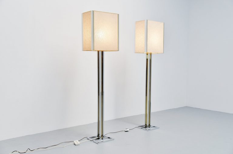Willy Rizzo geometric floor lamps Italy 1970